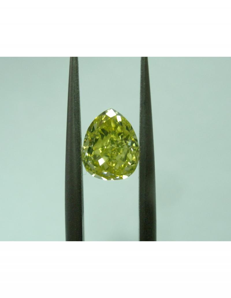intense green diamond, 1.01ct, vs1 , pear shape