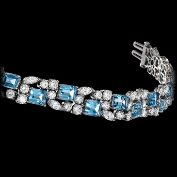 Aquamarine and Diamond Bracelet