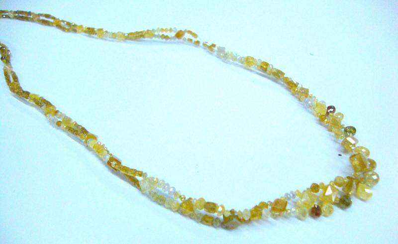 Fancy Color diamond beads neckalce