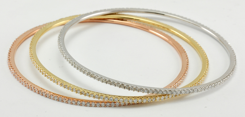 Diamond Bangle White Gold - Yellow Gold & Rose Gold 18ct