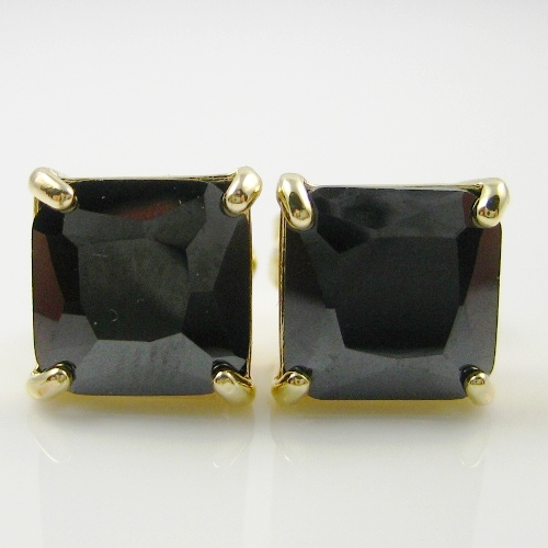 PRINCESS BLACK DIAMOND EARRING