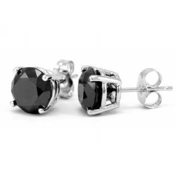 ROUND BLACK DIAMOND EARRING