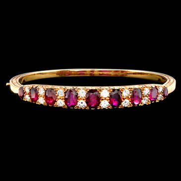 Antique Ruby And Diamond Bangle / Bracelet
